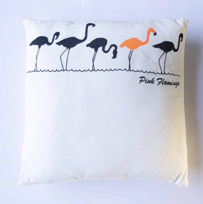 T-shirt kussen flamingo upcycled