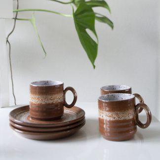 Vintage espresso kop en schotel set van 3
