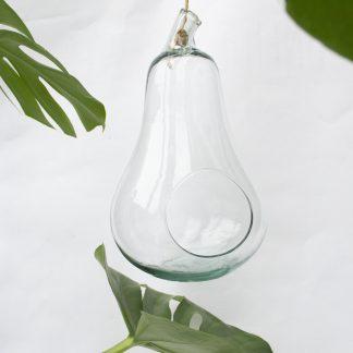 Vintage hangende bloempot glas