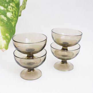 Vintage rookglas dessertschaaltjes