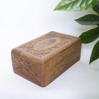 Vintage houten sieradendoosje