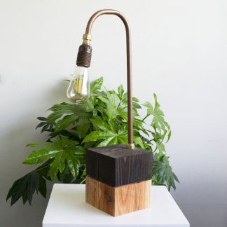 Tafellamp upcycled koper/hout