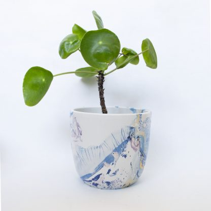 Bloempot marble blauw upcycled