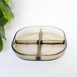 Vintage tapasschaal rookglas