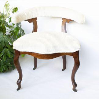 Vintage stoel ribstof crème