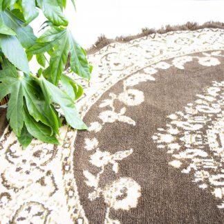 Vintage tapijt/vloerkleed rond bruin