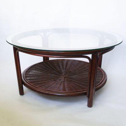 Vintage rotan salontafel glasplaat
