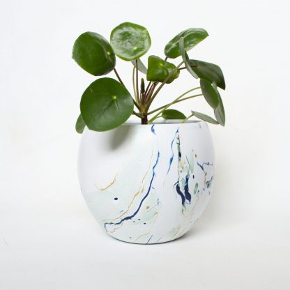Bloempot marble upcycled mint