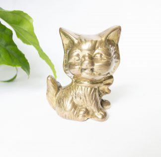 Vintage messing beeldje kat